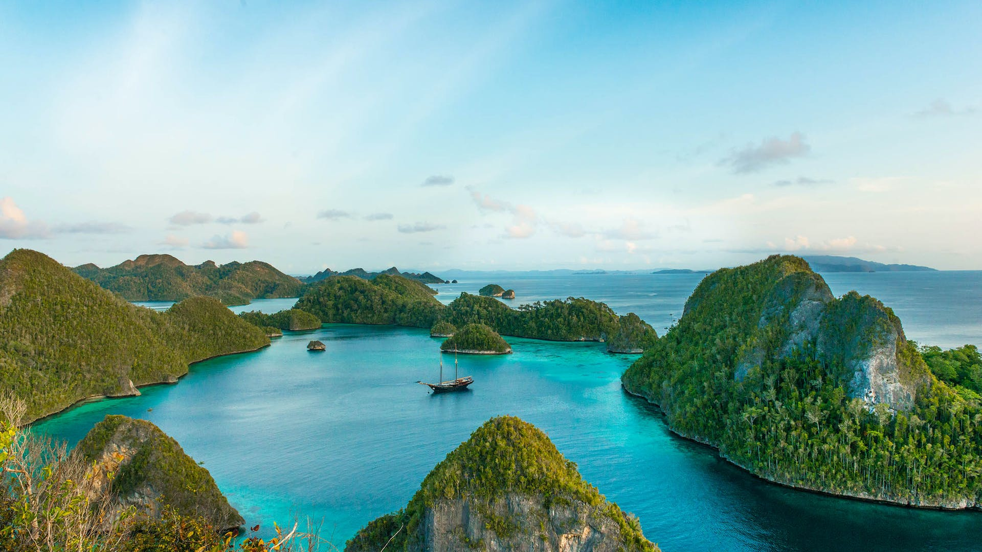 Water and mountains of Raja Ampat Islands Indonesian archipelago West Papua Indonesia